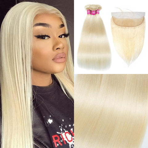 Image of Soul Lady 613 blonde Brazilian Remy Hair Bundles With 13x4 Lace Frontal
