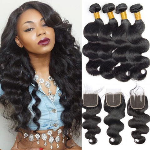 Soul Lady Free Part 4x4 Transparent Lace Closure Body Wave With 4 Bundles Brazilian Hair