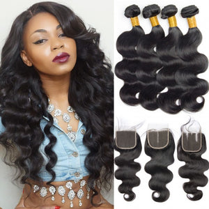 Soul Lady 4x4 Lace Closure With Body Wave Malaysian 4 Bundles