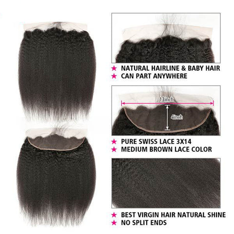 Image of Soul Lady Malaysian Kinky Straight 13x4 Lace Frontal Closure With 3 Bundles 100% Human Hair