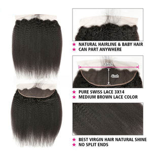 Soul Lady Indian Kinky Straight Lace Frontal 13x4 Free Part With 3 Bundles Pure Virgin Hair