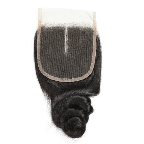 Image of Soul Lady Brazilian 4 Bundles With Loose Wave Free Part 4x4 Transparent Lace Closure