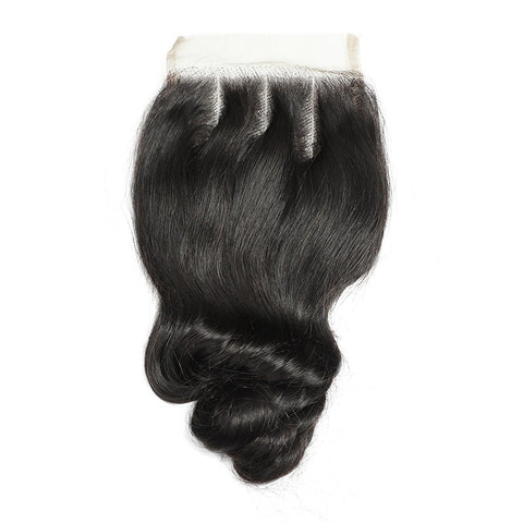 Soul Lady Brazilian 4 Bundles With Loose Wave Free Part 4x4 Transparent Lace Closure