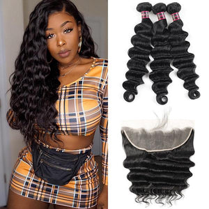 Soul Lady Malaysian 3 Bundles Body Wave Hair With 13x4 Lace Frontal Closure
