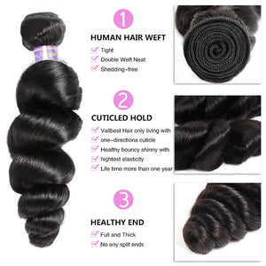 Soul Lady Brazilian Loose Wave 3 bundles With 4x4 Lace Closure