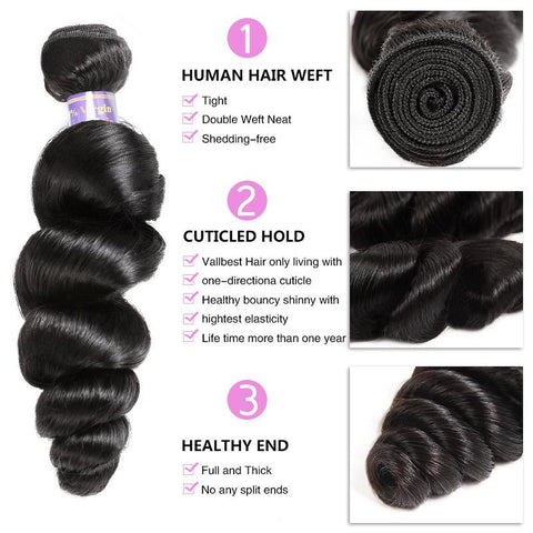 Image of Soul Lady Vietnam Loose Wave Lace  Closure With 3 Bundles Human Virgin Hair