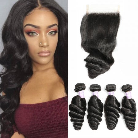 Image of Soul Lady Indian 4x4 Virgin Loose Wave Transparent Lace Closure With 4 Bundles