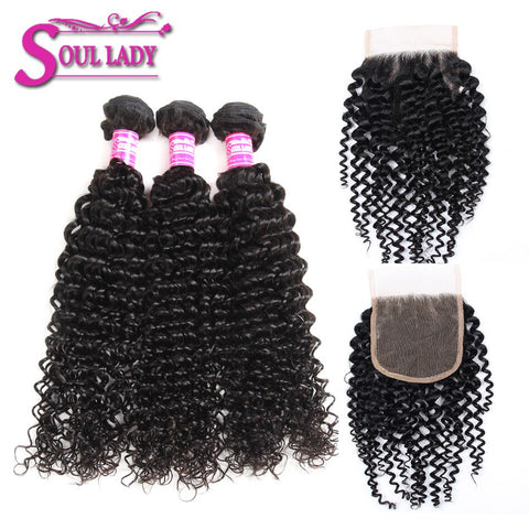 Soul Lady Kinky Curly Human Hair 3 Bundles With Peruvian 4x4 Transparent Lace Closure