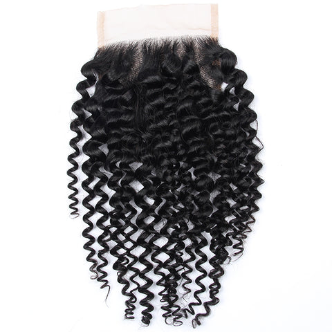Soul Lady 4x4 Transparent Lace Closure With 3 Bundles Brazilian Kinky Curly Hair