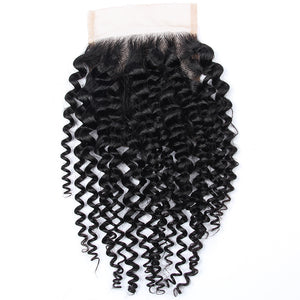 Soul Lady Malaysian Jerry Curly Hair 3 Bundles With 4x4 Lace Closure