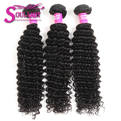 Soul Lady Free Part 4x4 HD Lace Closure With 3 Bundles Brazilian Deep Curly Sew In Hair On Sale