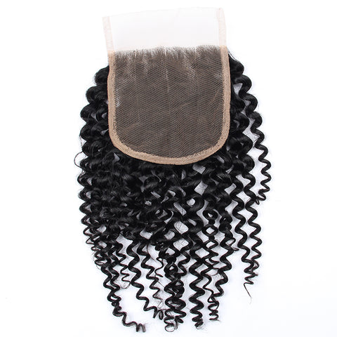Image of Soul Lady Peruvian Deep Curly 3 Bundles With Free Part 4x4 Transparent Lace Closure Human Hair