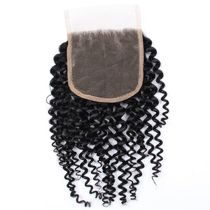 Soul Lady Kinky Curly 3 Bundles With Free Part 4x4 HD Lace Closure Indian Hair