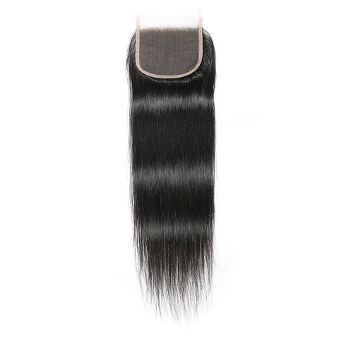 Soul Lady Malaysian Straight Hair Lace Closure With 3 Bundles Virgin Hair