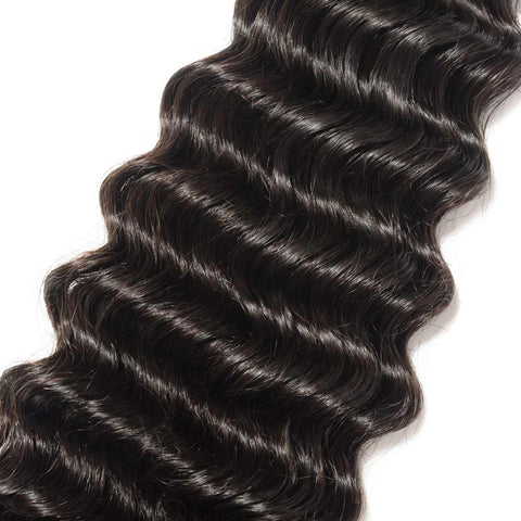 Image of Soul Lady Indian Deep Wave Human Virgin Hair 3 Bundles With Lace Closure Natural Color