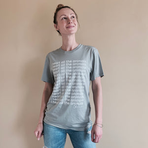 I Heart All The Animals Unisex Organic Cotton Tee - Earth Grey