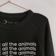 Load image into Gallery viewer, I Heart All The Animals Washed Terry Sweatshirt - Black