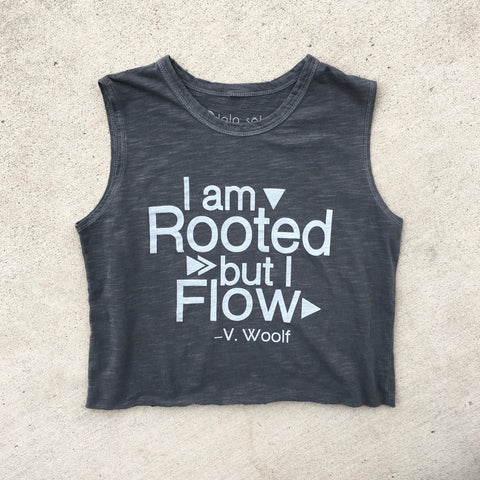 Root Down Rise Up Crop - Vintage Charcoal