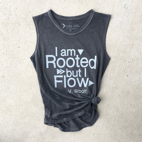 Root Down Rise Up Muscle Tank - Vintage Charcoal