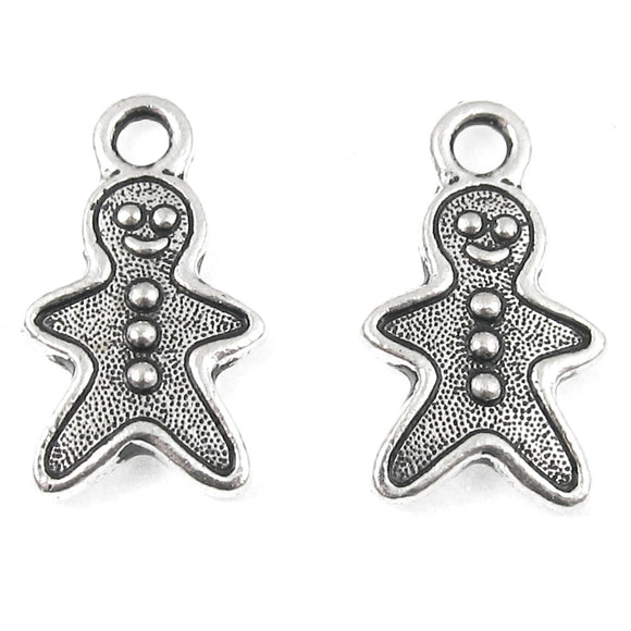 Silver Gingerbread Man Charms, TierraCast Pewter Christmas (2 Pieces)