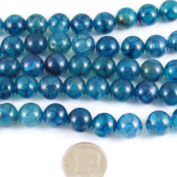 Round Gemstone Beads-Teal Blue Dragon Vein Agate 15