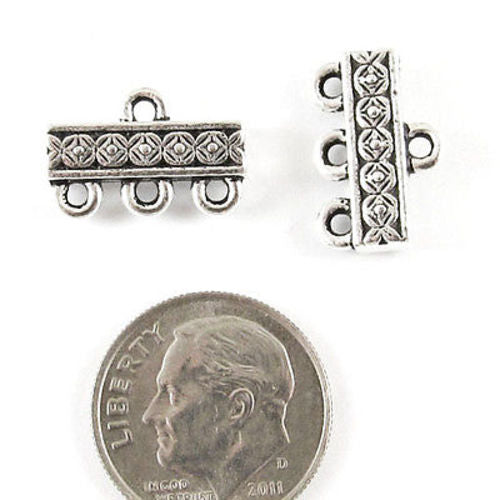 Silver 3 to 1 Deco Rose Links, TierraCast Pewter Connectors 2/Pkg
