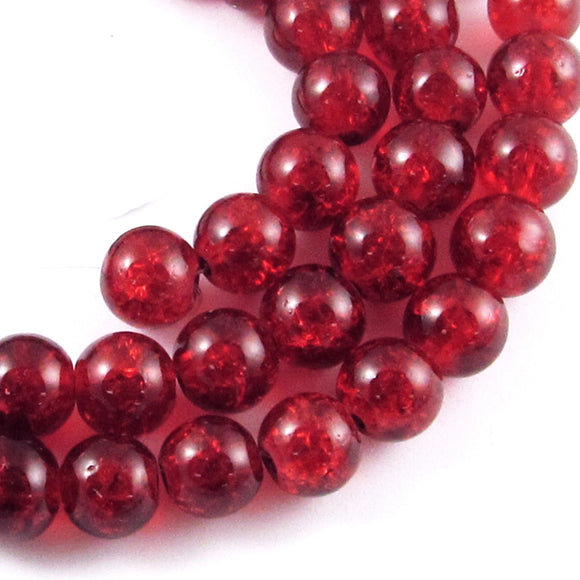 Ruby Red Round Glass Crackle Beads 8mm (50 Pieces)