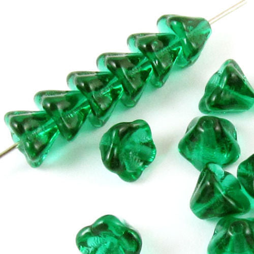 Emerald Green Bell Flower Beads, Czech Glass Beads 6x8mm (25 Pieces)