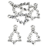 Silver Christmas Tree Charms, Metal Holiday Open Tree Charms 20/Pkg