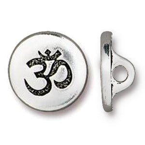 Silver Om Small Buttons, TierraCast Aum Leather Clasp 12mm (4 Pieces)
