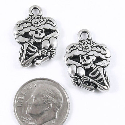 Silver Day of the Dead Skeleton charms