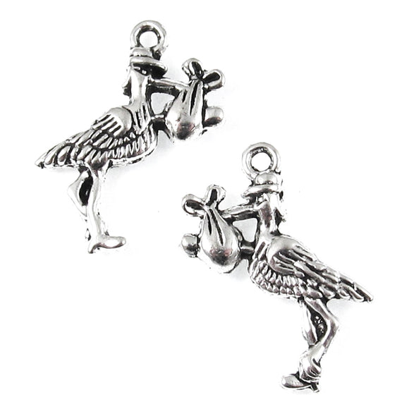 Silver Stork With a Baby Charms, Metal Birds, New Baby Charm (10 Pieces)