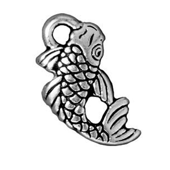 Silver Koi Fish Charms, TierraCast Pewter Animal (2 Pieces)