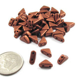 Czech Glass 2-Hole Triangle Beads-MATTE COPPER 6mm (50)
