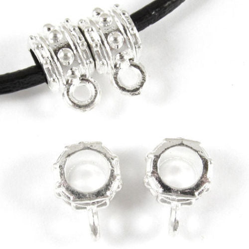 Metal Necklace Jewelry Bails - BRIGHT SILVER DOT 7x11mm (20 Pieces)