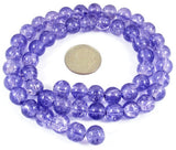 Round Glass Crackle Beads-VIOLET BLUE 8mm (50)