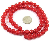 Red 8mm Round Glass Crackle Beads, Holiday Christmas Beads (50 Pieces)