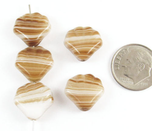 Czech Glass Shell Beads-WHITE, TAN, BROWN STRIPE 14mm (15)