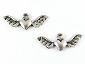 Silver Winged Heart Metal Charms 29x12mm (20 Pieces)