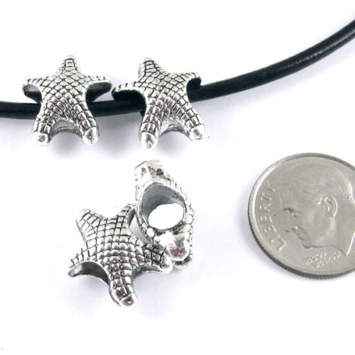 Large 4mm Hole Metal Beads -SILVER SEA STARFISH 14x14mm (20 Pcs)