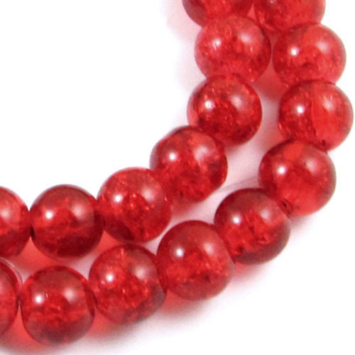 Round Glass Crackle Beads-RED 8mm (50)