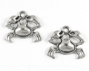 Antique Silver Metal Charms - CRAB 18x20mm (15 Pieces)