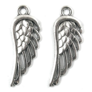 Metal Pendant Charms-Silver Open Wing 12x34mm (10 Pcs)