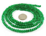 Round Glass Crackle Beads-EMERALD GREEN 4mm (200)