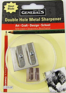 General's Double Hole Metal Sharpener for Charcoal, Chalks & Colored Pencils