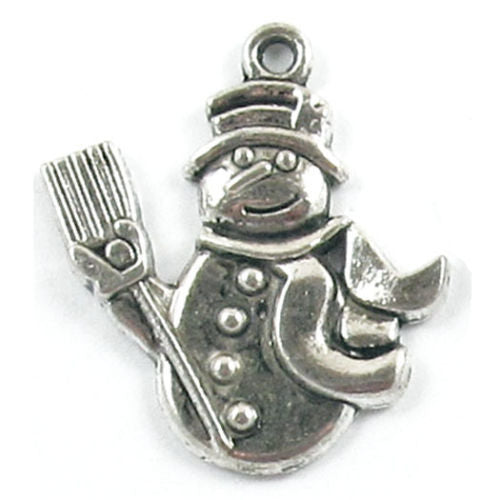 Metal Holiday Pendant Charms-SILVER CHRISTMAS FROSTY SNOWMAN 26x30mm (10 Pieces)