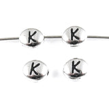 "Silver ""K"" Alphabet Beads, Oval Letter For Personalized Jewelry 4/Pkg"