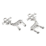 Silver Deer Charms, Metal Nature Woodland Animal 20x23mm (10 Pieces)