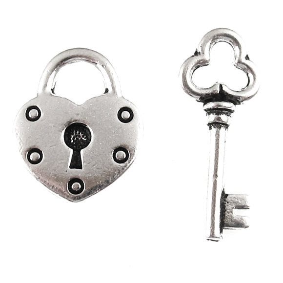 Silver Heart Lock & Key Charms, TierraCast Pewter (1 Set)