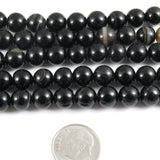 Black Agate Beads, 8mm Round Gemstone, 47 Pieces/Strand